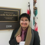 Ricky Solano, a Fairfield University senior outside Rep. Roybal-Allard's office in Washington, DC