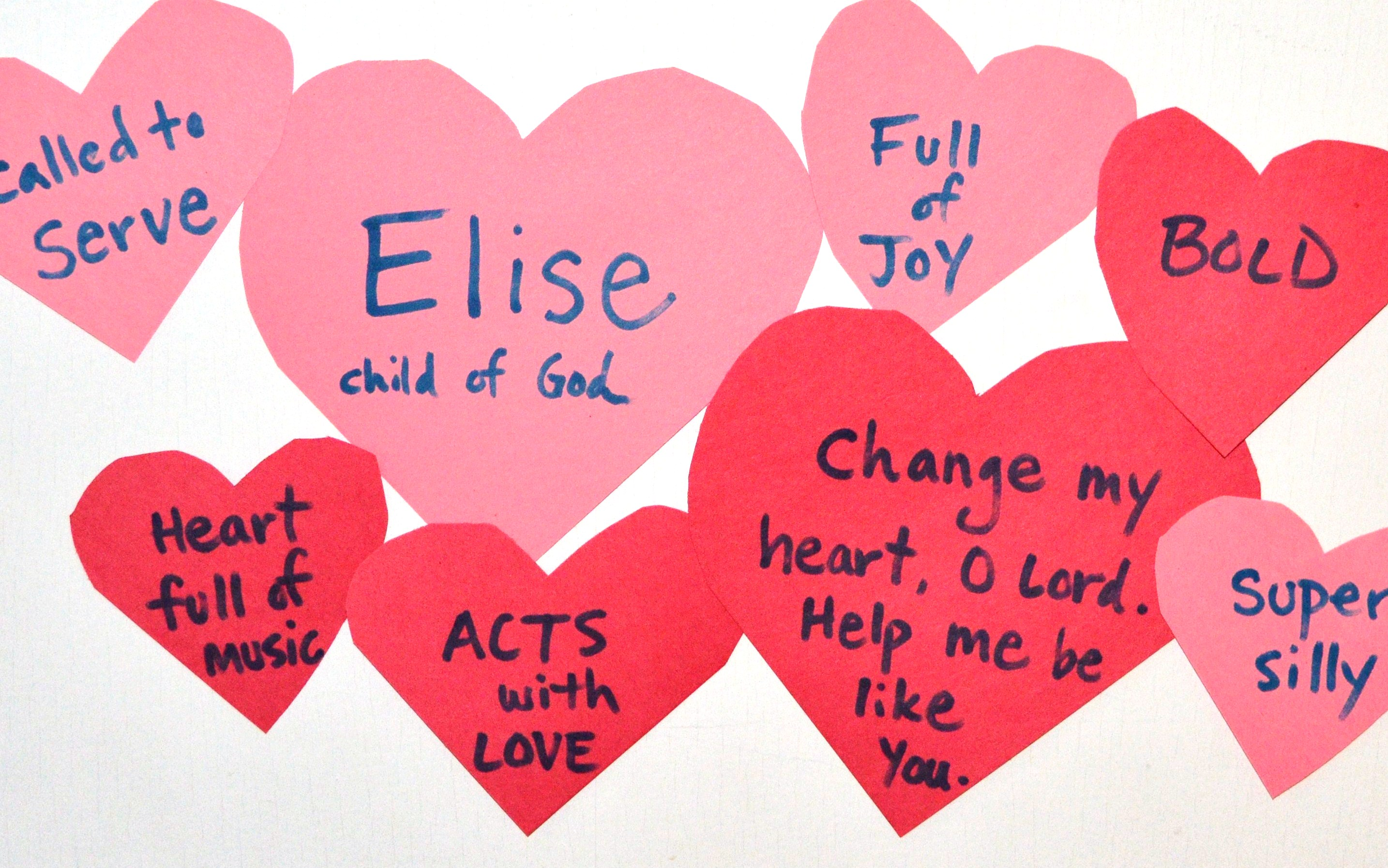 We're adding hearts to the kids' doors each week during Lent, helping them name how they've been of service and God has worked through them.