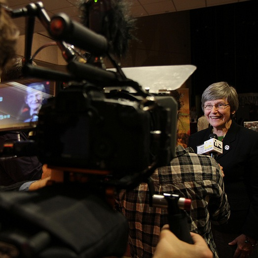 Sr. Simone Campbell being interviewed during the 2012 Ignatian Family Teach-In for Justice