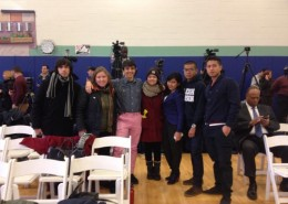 St. Peter's University graduate Catalina Adorno (3rd from right) and fellow New Jersey DREAM Act activists at bill signing in Union City, New Jersey.